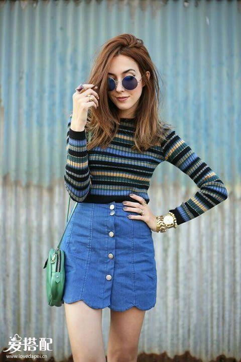 牛仔裙+秋季条纹